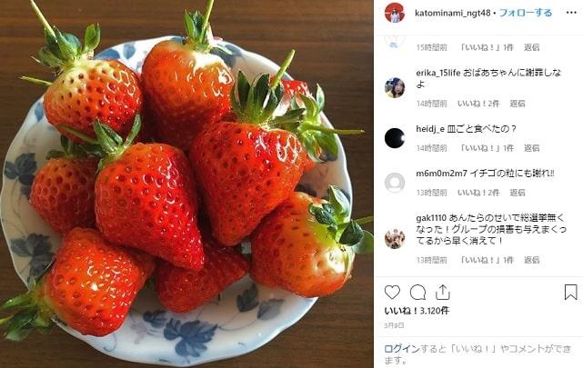 誤爆炎上したNGT48の加藤美南のインスタコメント内容