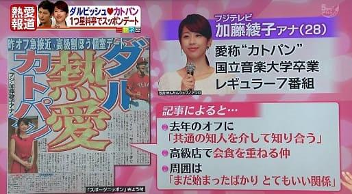 加藤綾子アナと歴代彼氏(元彼)の噂のダルビッシュの報道